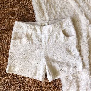 anthro elevenses textured white shorts